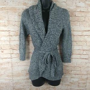 IZ Byer Gray Belted Sweater 3/4 Sleeves Medium